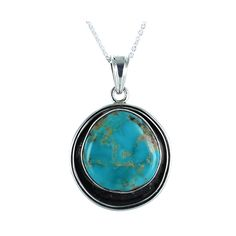 "BLUE GEM TURQUOISE STERLING PENDANT NECKLACE 16"" from New World Gems"