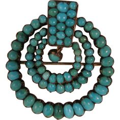 Antique Victorian Turquoise 800 Silver Brooch from virtu-doll on Ruby Lane