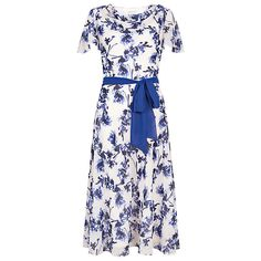 NEW JACQUES VERT WHITE BLUE SMALL FLOWER FLORAL PRINT COWL NECK DRESS 10 to 22