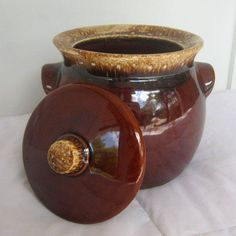 Vintage Brown Drip Bean Pot, Large Hull Pottery Piece