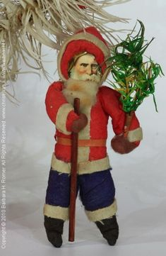 Spun cotton Santa ornament, German