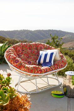 The only way we could think of to make the Pier 1 Outdoor Papasan more fun was to make it big enough for two. You and a friend can let us know if it worked.