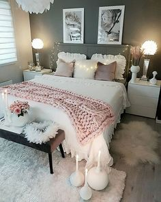 Cozy Home Decorating Ideas for Girls Bedroom - Bedroom Decor Ideas Cute Room Decor, Teen Room Decor, Home Decor Bedroom, Modern Bedroom, Contemporary Bedroom, Bedroom Inspo, Bedroom Decor Ideas For Teen Girls, Bedroom Bed, Teenage Girl Bedrooms