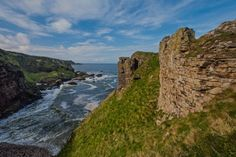 Findlater Castle which to gain access to you have to walk along a short narrow path with drops to the sea below on either side. Photo by © Derek Fogg - British Landscapes Photography