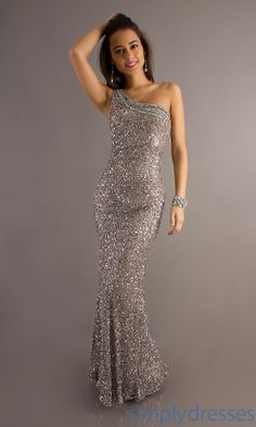 Long One Shoulder Sequin Dress, Scala Prom Gowns - Simply Dresses