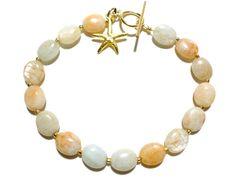 Aquamarine and Gold Bracelet  Gold Starfish Bracelet by StaggsLane
