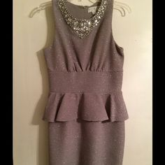Jackie Jon New York Silver Sparkly Dress Silver Sparkly Peplum Dress Size 8 only wore 1 time! jcpenney Dresses