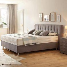 Boxspringbett im grauem Textilstoff mit silbernen Füßen Nova, Bedroom Decor, Modern, Furniture, Home Decor, Gray, Homemade Home Decor, Home Furnishings, Decorating Bedrooms
