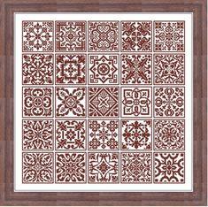 Twenty five Square Insertions cross stitch Filet Lace
