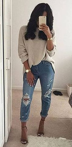 Cream Knit // Destroyed Jeans // Pumps                                                                             Source