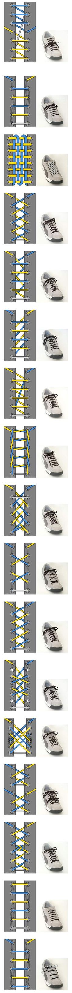 Cool Ways To Tie Your Shoe Laces ~ shoe lace patterns ~ Will have to remember this when the kids finally get shoes with laces. Your Shoes, Good To Know, Just In Case, Life Hacks, Creations, Geek Stuff, Good Things, Manly Things, Simple Things