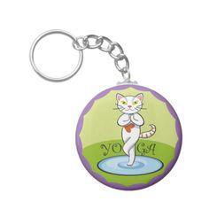 Lindo gato yoga. Regalos, Gifts. #llavero #KeyChain