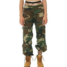 American Vintage Cady Heron Camo Pants ($78) ❤ liked on Polyvore featuring pants, camo trousers, cut loose pants, loose trousers, camo print pants and brown pants