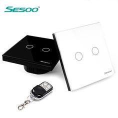 Eu/英国規格sesoo 2ギャング1ウェイリモート制御光スイッチ、クリスタルガラスパネルタッチスイッチ、ウォールライトスイッチ用スマートホーム