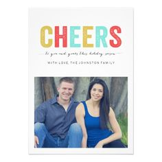 Multi Color Cheers Christmas Photo Flat Cards   Visit the Zazzle Site for More: http://www.zazzle.com/?rf=238228028496470081