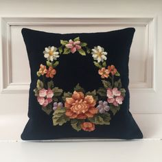 Navy floral garland needlepoint cushion cover, midnight blue background by KindredClassics on Etsy Cushion Inserts, Cushion Covers, Navy Blue Background, Cross Stitch Rose, Floral Garland, Needlepoint Canvases, My Canvas, Midnight Blue, Hand Stitching