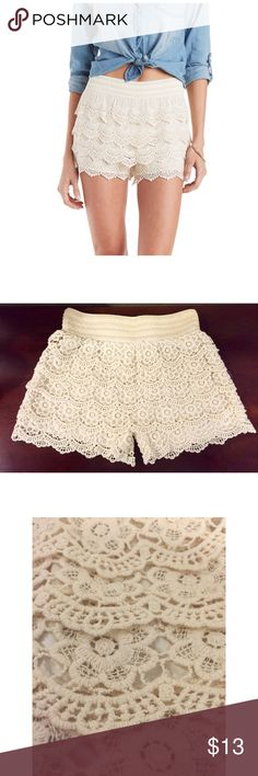NWOT White Tiered Crochet Shorts New without tags - never worn Size S with elastic waistband  Cute for any occasion, perfect for the summer! *ITEM IS NOT FOREVER 21 BRAND* Forever 21 Shorts