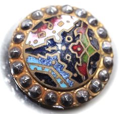 Cut Steel Border Enamel Button by KPHoppe on Etsy