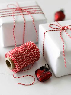 Nordic House Red & White Wrapping String The festive colours - red and white are a timeless classic. Christmas Love, Scandinavian Christmas, All Things Christmas, Christmas 2019, Christmas Trees, Christmas Decorations, Table Decorations, Christmas Present Wrap, Christmas Gift Wrapping