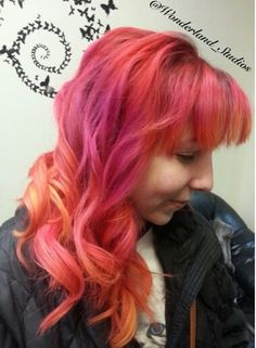 Pink orange dyed hair
