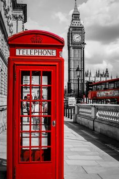 Make a call from a London phone booth.