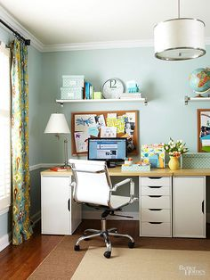A fully functional home office doesn't need to have its own separate room. Tucked into the corner of a dining room, this full-fledged office gets its deluxe status thanks to plenty of storage and ample work surfaces. Use space wisely by installing shelves above the desk and cabinets below the work surface.