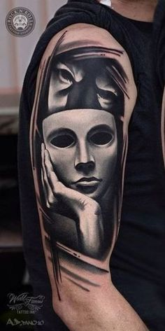 Real or Mask Tattoo - InkStyleMag Chicanas Tattoo, Mask Tattoo, Arm Band Tattoo, Tattoo Drawings, Real Tattoo, Time Tattoos, Body Art Tattoos, Tattoos For Guys, Sleeve Tattoos