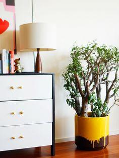 DIY yellow drip planter