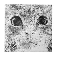 cat lovers gifts Grey Tabby Cat Face Tile