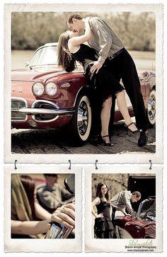 Vintage car engagement photo session.
