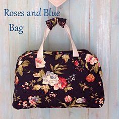 Weekend Bag, Roses, Blue, handmade,