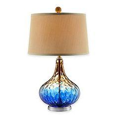 Stein World Shelley Art Glass Table Lamp in Cobalt Blue/Gold