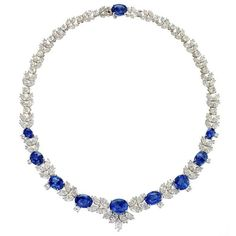 Late 20th-Century Sapphire Diamond  Platinum Necklace | From a unique collection of vintage more necklaces at https://www.1stdibs.com/jewelry/necklaces/more-necklaces/