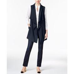kensie Draped Ponte Vest ($89) ❤ liked on Polyvore featuring outerwear, vests, darkest navy, draped vest, white waistcoat, navy blue vest, white vest and navy vest