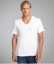 Second Sunday white and blue subtle stripe cotton blend v-neck raw edge t-shirt White Shirt Men, Classic White Shirt, White Shirts, Shopping Sites, Raw Edge, Sunday, V Neck, Cotton, Mens Tops