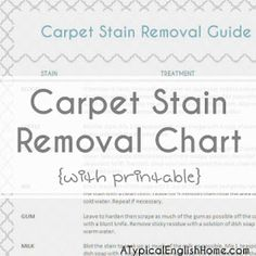 A Typical English Home: Printable Carpet Stain Removal Guide
