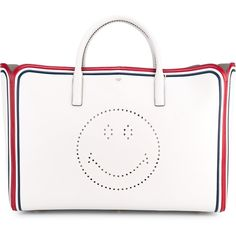 Anya Hindmarch Maxi Featherweight Ebury Leather Bag ($2,350) ❤ liked on Polyvore featuring bags, handbags, tote bags, white leather tote bag, perforated tote, leather handbag tote, perforated leather tote and leather handbags