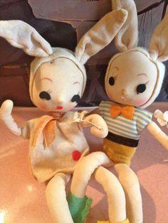 "Vtg Easter Bunny Rabbit Knee Huggers, Boy & Girl Bunnies,  Japan, 9"" Cuties!"
