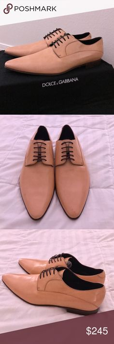 NEW!!! Men's Dolce & Gabbana Tan Dress shoes! 100% Authentic! Men's beautiful dress shoes from Dolce & Gabbana!  Size 9.5M, but as with most D&G  shoes, these fit 1 size larger. Very beautiful color - Peach to light tan. High quality Leather.  Slim Silhouette for a perfect modern look. LITERALLY BRAND NEW!! I tried them on in my house 2-3 times to see if I could make them fit me, but ultimately could not. So you will notice very faint folds on leather, but the wooden soles are perfect - not…