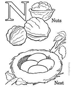 Alphabet coloring sheet - Letter N