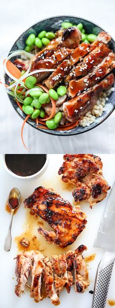 My Teriyaki Chicken Rice Bowls are a one bowl meal complete with brown rice and moist grilled chicken thighs | foodiecrush.com