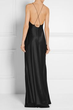 Calvin Klein Collection | Silk-satin gown | NET-A-PORTER.COM  Open back is gorgeous!
