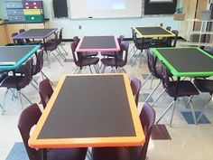 Chalkboard Tables -- Paint the tops of your tables with chalkboard paint and then use colored duct tape around the edge of the tables.  Or with whiteboard paint???