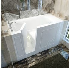 """MediTub 3060WILWH White 60"""" Fiberglass Whirlpool Walk In Tub for Alcove Installations with Left Drain, Drain Assembly, and Overflow Walk In Tubs, Walk In Bathtub, Walk In Tub Shower, Walk In Shower Designs, Swinging Doors, Small Bathroom, Bathroom Ideas, Bathrooms, Master Bathroom"""