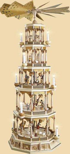 5- tier Pyramid Nativity Scene - natural wood (48in - 123cm) by Richard Glässer