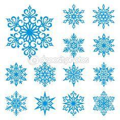 Vector conjunto de copos de nieve — Ilustración de stock #2517387