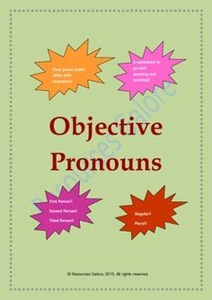 This is a great product to teach Objective Pronouns in middle/high school ELA classes. This resource includes the following:* a clear set of power-point slides with definition, examples, quiz and a short exercise for teaching objective pronouns to students.* an useful resource for teaching objective pronouns to middle school students in general and especially to those who follow core standards targetting a part of L.6.1a. Price: $3.30 #Resources Galore
