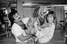 The Texas Chainsaw Massacre 2 - Behind the scenes photo of Tom Savini & Caroline Williams