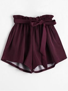 Smocked Belted High Waisted Shorts - WINE RED ONE SIZE