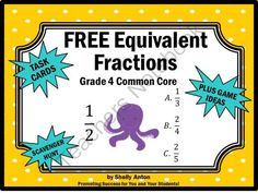 FREE Equivalent Fractions Multiple Choice Task Cards from Promoting Success on TeachersNotebook.com -  (9 pages)  - Free Fractions: You will receive 6 fraction task cards focusing on the Common Core skill of equivalent fractions. Students are given a fraction and must choose the equivalent fraction among three choices. You will also receive a fractions student response
